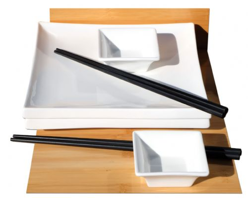 Japanese style Square white ceramic sushi set  for 2